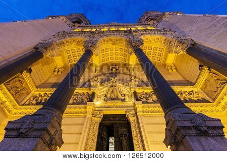 Basilica of Notre-Dame de Fourviere in Lyon. Lyon Rhone-Alpes France.