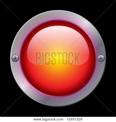 Glossy and shiny plastic button with metallic ring and screws. poster