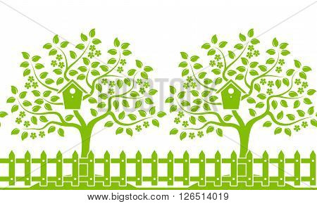 vector seamless border with flowering trees with nesting bird box behind picket fence isolated on white background