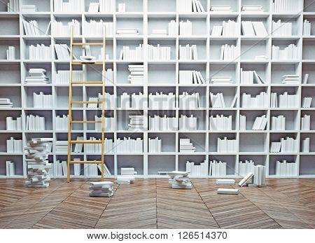 Big library interior.  White books concept. 3d illustration