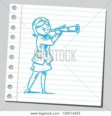Businesswoman looking through spyglass