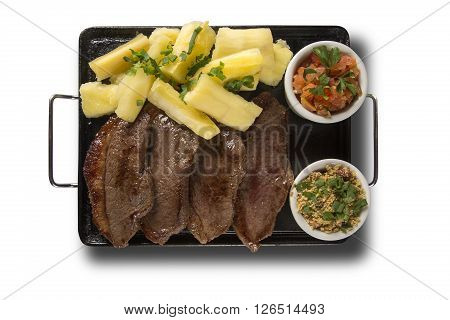 Picanha portion and manioc fries. White background.
