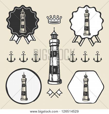 vintage lighthouse symbol emblem label collection set