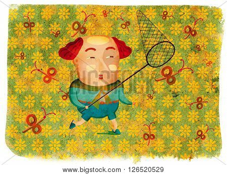 Man catching percent with a butterfly net. Creative illustration. Flower field with butterflies.