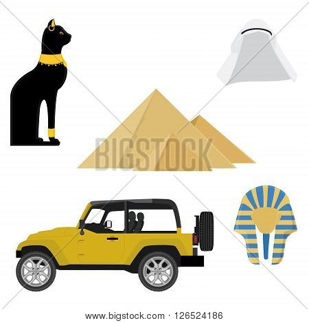 Egypt icons. Collection of ancient Egypt icons with Giza pyramid car egypt cat arab hat and golden mask of egypt pharaoh