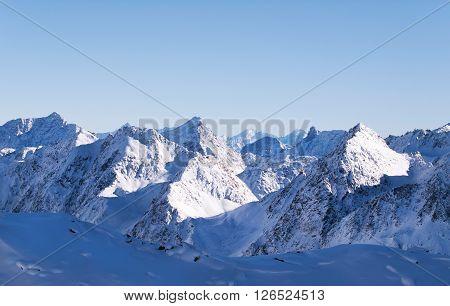 View on peaks of Stubai Alpen in Tyrol Austria