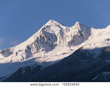 View on peak of Stubai Alpen in early morning
