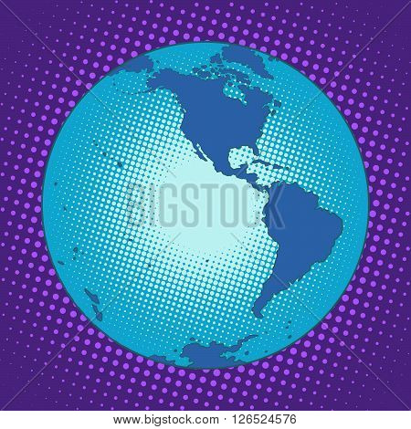 Planet Earth Western hemisphere pop art retro style. South and North America. Antarctica. Map the globe. Blue planet