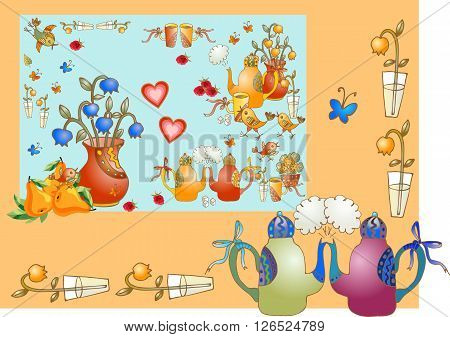 Tea party. Beautiful card with teapots vases with flowers, pears, cups, hearts and birds. Cute vector illustration for teatime.