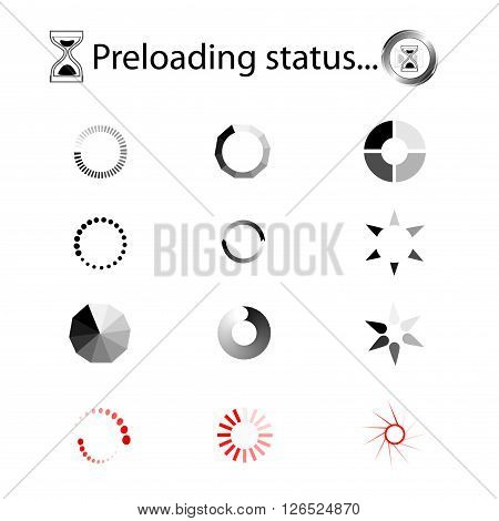 Loading icons - vector set. Loading Charging Buffering.