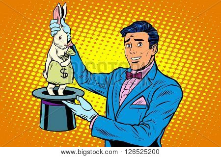 Businessman magician and Bunny money pop art retro style. The magicians hat. Profit Finance money