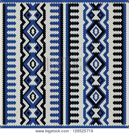 A Blue White And Black Vintage Traditional Weaving Motif Rug