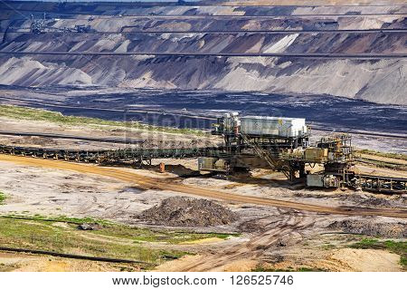 lignite (brown coal) strip mining in Garzweiler Germany a large surface mine for power generation with significant impact on the environment and to the residents who have to be resettled