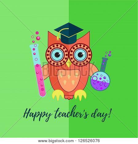 Flat owl character, chemistry teacher with bottles. Happy teacher's day illustration.