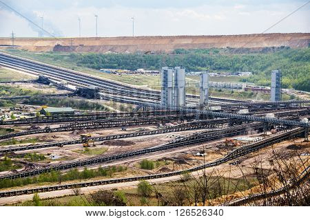 Conveyor belt systems at the lignite (brown coal) strip mining Garzweiler Germany a large surface mine for power generation