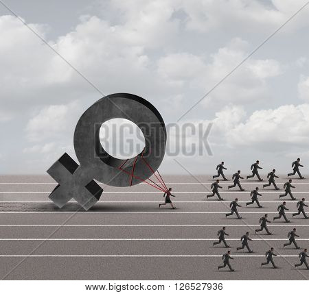 Sexism descrimination concept as a struggling woman with the burden of pulling a heavy female 3D illustration symbol falling behind a group of running businessmen or men as an unfair gender bias icon. poster