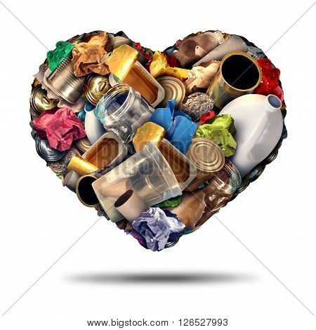 Recycle heart recycling symbol and reuse of scrap metal plastic and paper concept as an illustration on a white background as an icon for the love of conservation. poster