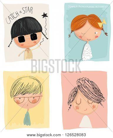 cartoon kids with frame