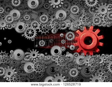 Business energy power of innovation technology displacing old industry as a business game changer as a 3D illustration red gear destroying and disrupting displacing established industry.