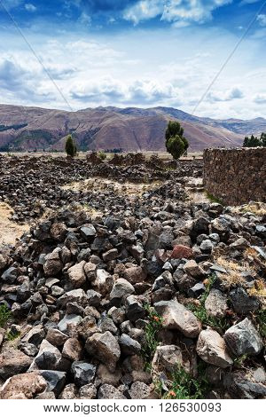 �rumbling wall of the Incas in the mountains