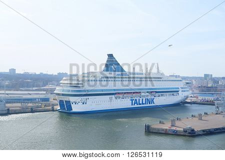 Tallin, Estonia - April, 6, 2016: cruise ship in Tallin harbour, Estonia