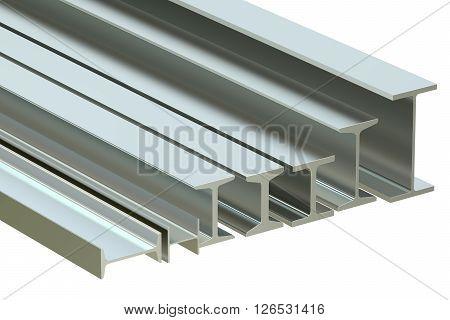 structural beams steel rolled metal H-beam. 3D rendering