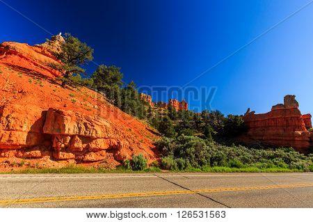 Road Through Red Canyon In Utah, Usa.