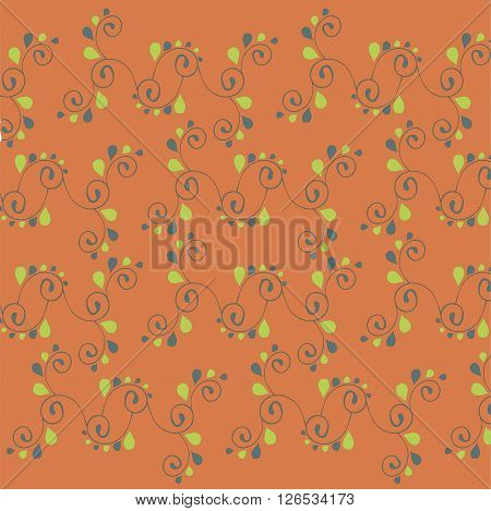 Floral hand drawing background. Green and dark blue stylised leafs, swirls on red, vector