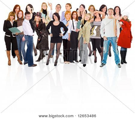 dense group of young people with reflections on mirror floor -  of