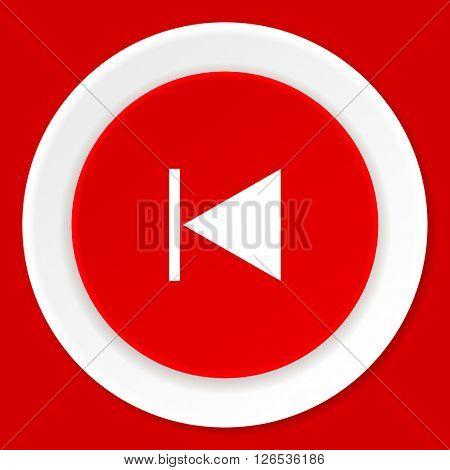 prev red flat design modern web icon