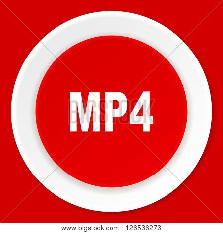 mp4 red flat design modern web icon