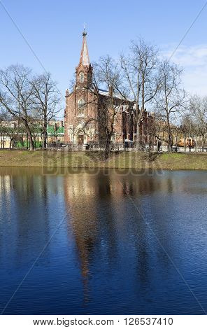 Tsarskoye Selo, Russia -April 16, 2016: Stone building with Gothic Kirch Resurrection in Pushkin - Lutheran church in the town of Pushkin, Pushkin parish center Evangelical Lutheran Church of Ingria. April 17, 1865, the day of the birth of Emperor Alexand
