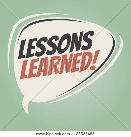 lessons learned retro speech bubble