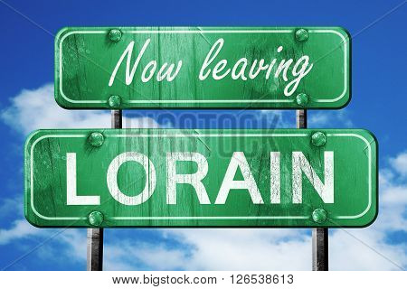 Now leaving lorain road sign with blue sky