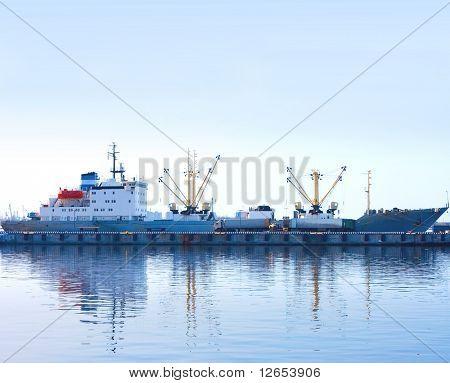 blue morning in port -  of