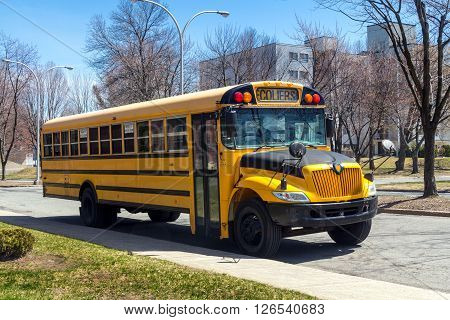 school bus parked on a street of Sorel-Tracy Quebec Canada