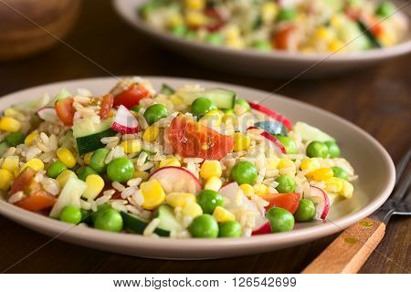 Brown rice salad with cherry tomato corn cucumber radish and peas served on plate photographed on dark wood with natural light (Selective Focus Focus one third into the salad)