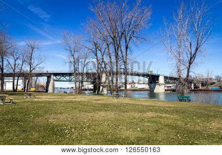Sorel-Tracy Quebec Canada old bridge park landscape at springtime
