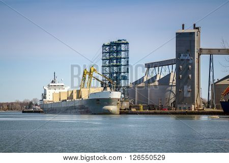 Ship at Sorel-Tracy industrial port Quebec Canada St. Lawrence river