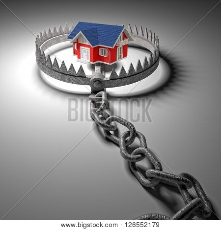 3d model house and classic bear trap