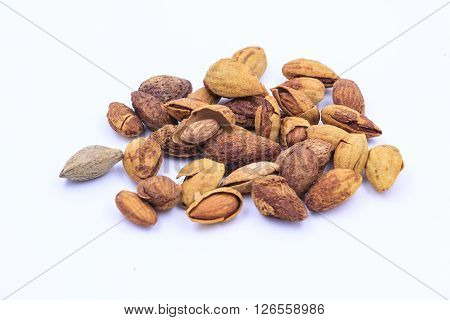The almonds isolated on the white background