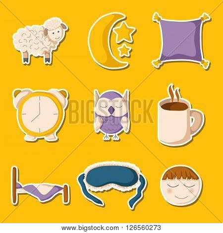 Set of cute cartoon icons on sleep theme. Vector insomnia concept. Cartoon sleeping objects: bed lune sheep pillow owl sleeping mask coffee. Vector sleeping concept in cartoon style