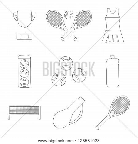 Set of line tennis icon: court tennis racket cup bottle ball. Tennis championship concept. Vector tennis icons for sports design. Outdoor sport activity concept. Tennis competition cartoon icons