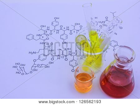 The test tube for chemical analysis in laboratory