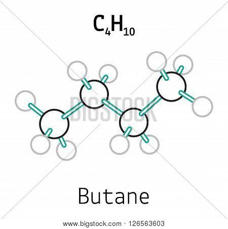 C4H10 butane 3d molecule isolated on white