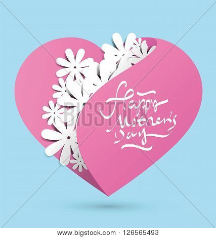 Heart pocket full of flowers,Mother's Day-themed heart-shaped graphic design.