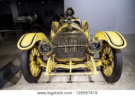 Los Angeles, CA, USA -- April 16, 2016: One of only 150 built, this 1913 Mercer Type 35-J Raceabout is now part of the Margie and Robert E. Petersen Collection at the Petersen Automotive Museum in Los Angeles, California, United States.