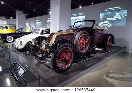Los Angeles, CA, USA -- April 16, 2016: One of a kind, this 1914 Renault Type EF by Earl Automobile Works was formerly owned by Roscoe Fatty Arbuckle and is part of the collection of Gunner Gudmundson at the Petersen Automotive Museum in Los Angeles, Cali