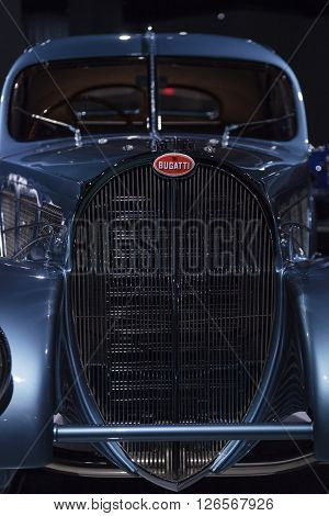 Los Angeles, CA, USA -- April 16, 2016: This 1936 Bugatti Type 57SC Atlantic is part of the collection of Atlantic LLC, Rob and Melani Alton, Peter and Merle Mullin, Mullin Automotive Museum and Peter Mullin Automotive Museum Foundation