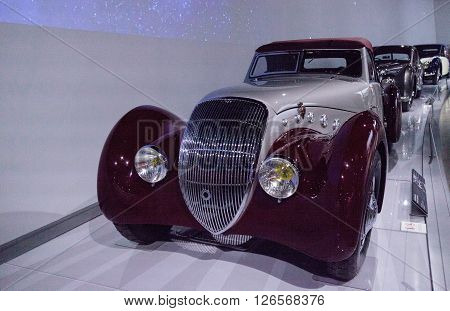 Los Angeles, CA, USA -- April 16, 2016: This 1937 Peugeot 301 DS Darl'mat Cabriolet by Pourtout is part of the collection of the Mullin Automotive Museum on display at the Petersen Automotive Museum in Los Angeles, California, United States.